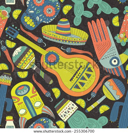 Seamless vector pattern with hand drawn mexican elements - guitar, sombrero, tequila, taco, skull, mask, music instruments. Perfect artistic background for your design. Travel to Mexico texture.  - stock vector