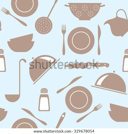 seamless vector pattern with household utensils, tableware - stock vector