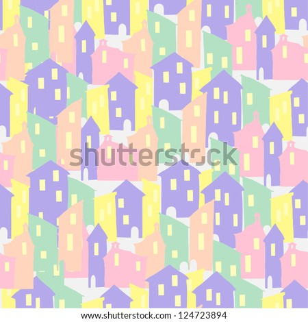 seamless vector pattern with houses - stock vector
