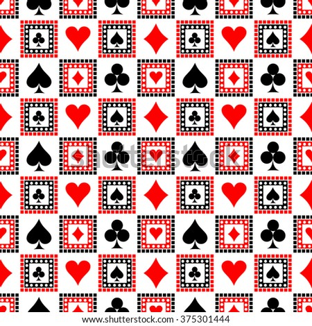 Seamless vector pattern with icons of playing cards. Bright red, black and white symmetrical geometric background. Decorative repeating ornament. Series of Geometric, Ornamental Seamless Pattern