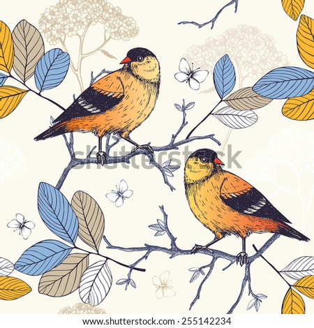 Seamless vector pattern with ink hand drawn birds on blooming  tree twigs. Vintage sketch background with orange birds - stock vector