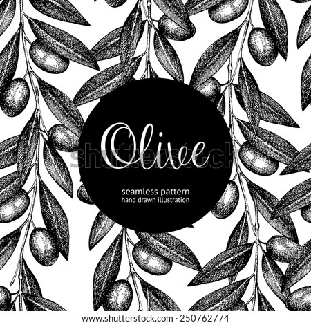 Seamless vector pattern with ink hand drawn olive tree twigs. Vintage black and white olive background - stock vector