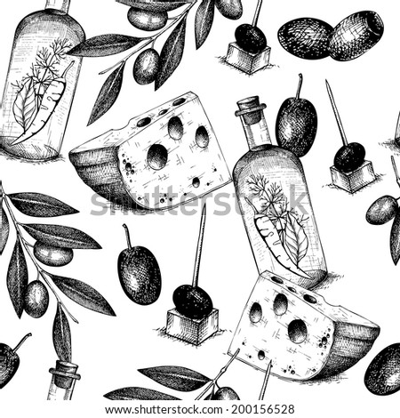 Seamless vector pattern with  ink hand drawn traditional italian food - olive, olive oil, cheese isolated on white. Vintage olive background - stock vector