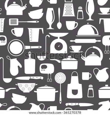 seamless vector pattern with kitchen flat icons - stock vector