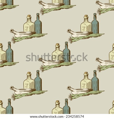 Seamless vector pattern  with kitchen utensils and dishware in retro style. - stock vector