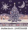 Seamless vector pattern with lacy moon, star and christmas tree - stock vector