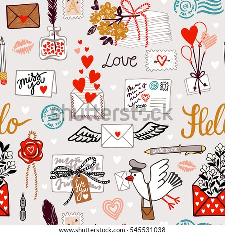 Seamless vector pattern with love letters, hearts, words and bird. Saint Valentine's day background