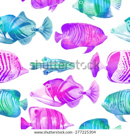 Seamless vector pattern with marine fish. Watercolor texture. Vector blue background. Can be used for fabric, wallpaper, background, banner, pack, web page.  Isolated elements for easy use. - stock vector