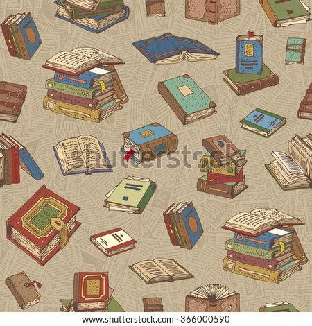Seamless Vector Pattern with Multicilored Books on a Background with Pages - stock vector