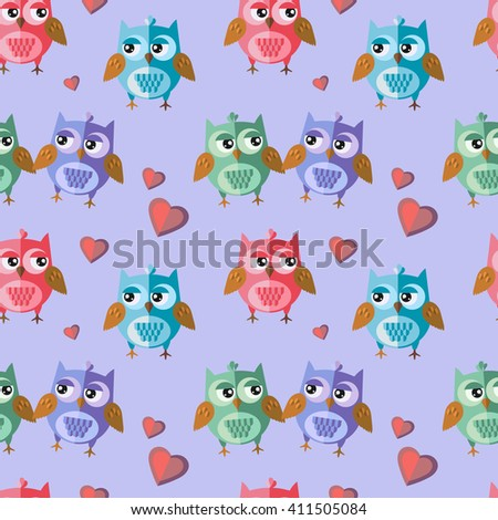 Seamless vector pattern with nice owls in love. Vector, flat style.