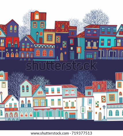 Seamless vector pattern with old houses