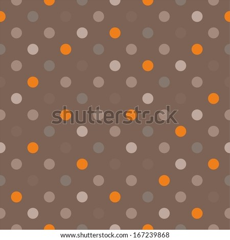 Seamless vector pattern with orange, beige, brown and grey colorful polka dots on a dark brown background. For website, web design, desktop wallpaper, blog background, arts and scrapbooks. - stock vector