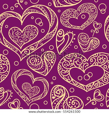 Seamless vector pattern with ornamental decorative hearts. Yellow contour on purple background. Romance and Valentine's day theme.