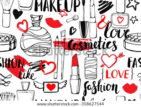 Seamless vector pattern with perfume and cosmetics. Colorful linear hand drawn illustration. Sketch. Accessories for woman. Beauty vintage cosmetics elements. Lettering. Ink. Calligraphy.