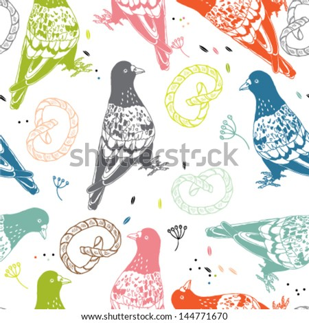 Seamless vector pattern with pigeons walking and eating pretzels and crumbs on street. - stock vector