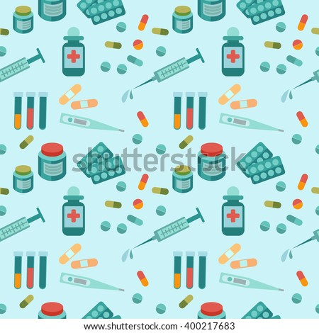 Seamless vector pattern with pills, syringe and medical bottles