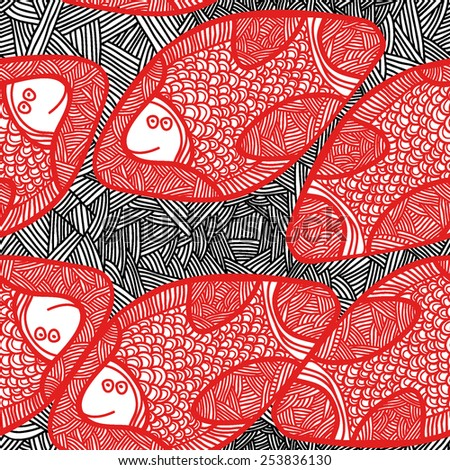 Seamless vector pattern with pink African fish. Abstract ornamental black and red  background. Repeating monochrome background texture. Cloth design. Wallpaper, wrapping - stock vector