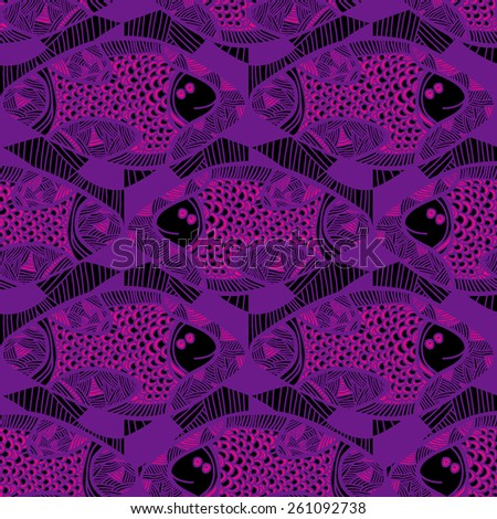 Seamless vector pattern with pink African fish. Hand drawn. Abstract ornamental decorative violet background. Repeating colorful background texture. Cloth design. Wallpaper, wrapping. - stock vector