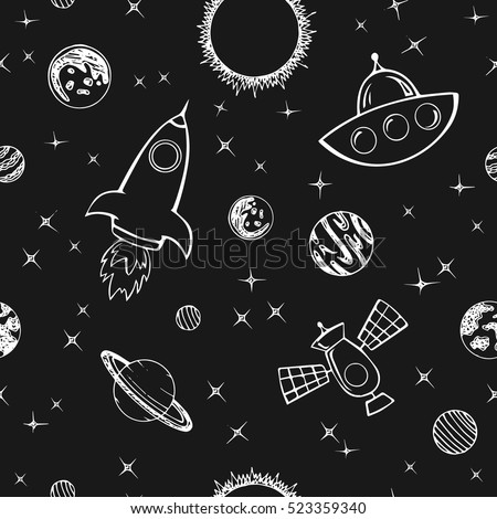 Seamless vector pattern with planets and stars on a white background. Space. Illustration.