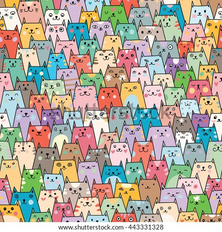 Seamless vector pattern with plenty of cute colorful cats  - stock vector