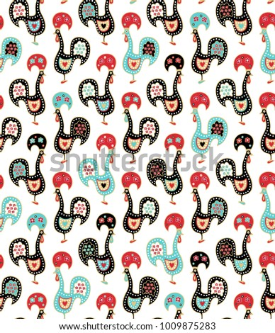 "Seamless vector pattern with portugal rooster ""Barcelos"""