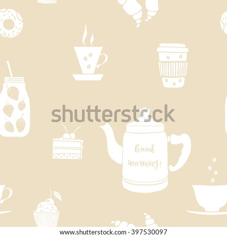 Seamless vector pattern with pot, cup, mason jar, coffee, fruit smoothie, tea, pot. Hand drawn drinks with lettering Good Morning.