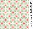 Seamless vector pattern with red flowers and green leaves - stock vector