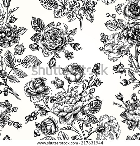 Seamless vector pattern with roses. Black and white. Vintage vector illustration. - stock vector
