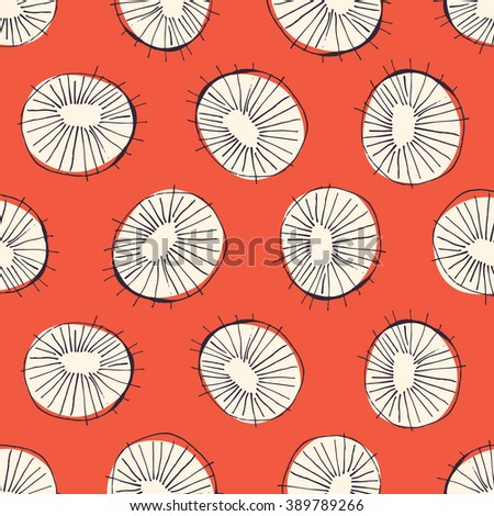 Seamless Vector Pattern With 50s Style Mid Century Modern Circle Drawings,  Repeating Background For