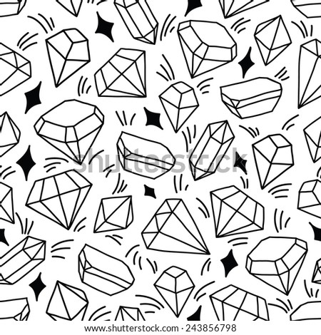 Seamless vector pattern with shining gems. - stock vector