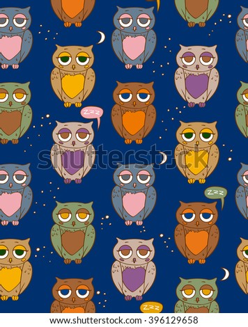 Seamless Vector Pattern with Sleepy Multicilored Owls in the Night Sky - stock vector