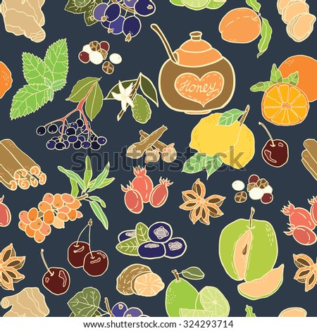 Seamless vector pattern with spices, berries and fruits for autumn beverages. Vector hand drawn illustration.