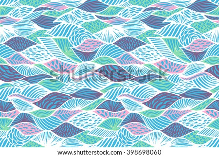 Seamless vector pattern with stylized waves and shells.