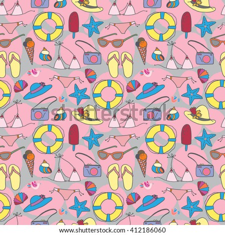 Seamless vector pattern with summer vacation items, beach symbols. Good for textile fabric design, wrapping paper and website wallpapers. Vector illustration.