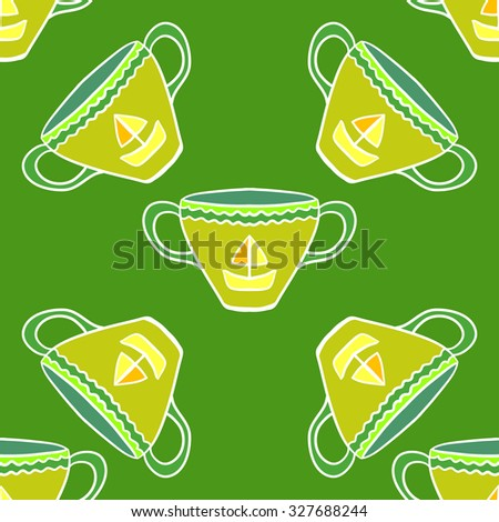 Seamless vector pattern with tea cups.  - stock vector
