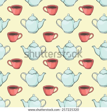 seamless vector pattern with teapots and cups - stock vector