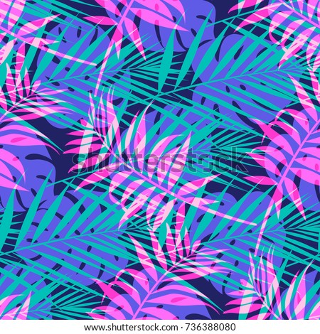Seamless Vector Pattern With Tropical Palm Leaf In Neon Colors