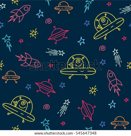 Seamless vector pattern with ufo,space rockets, spaceship,and stars. Baby background.
