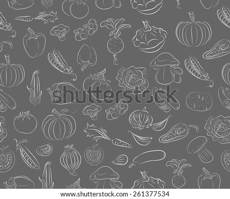 Seamless vector pattern with vegetables - stock vector