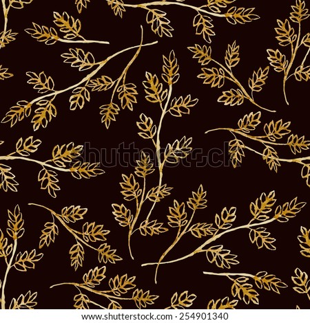 Seamless vector pattern with watercolor golden floral elements on dark background. Hand drawn ornament with herbs.  Perfect for greetings, invitations, manufacture wrapping paper, textile, web design. - stock vector
