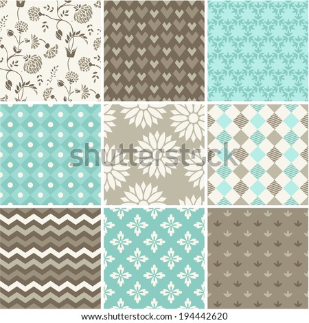 Seamless vector patterns set  - stock vector