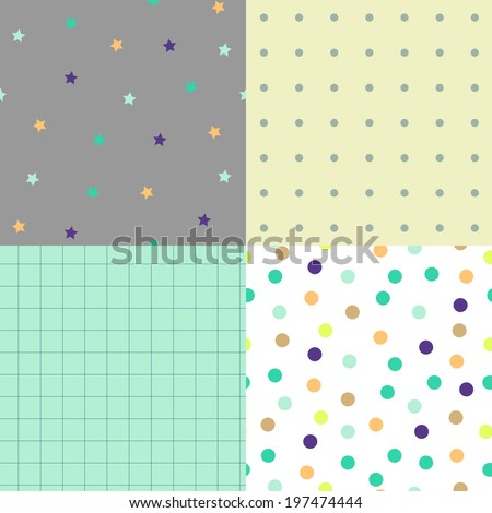 Seamless vector patterns with colorful polka dots, stars for kids background, blog, web design, scrapbooks, party or baby shower invitations and wedding cards. - stock vector
