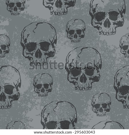 Seamless Vector Patterns With Grunge  Human Skulls