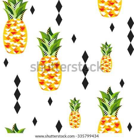 Seamless vector pineapple pattern with triangles, rhombus, stripes, dots and circles. Tropical jungle fruits in original geometric style - stock vector