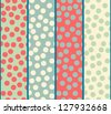 Seamless vector polka dot strip pattern background - stock vector