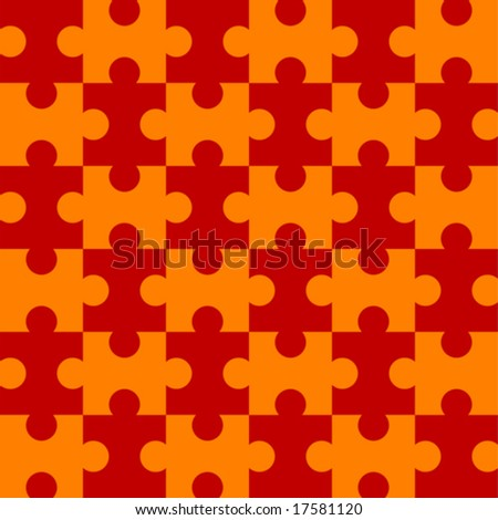 Seamless Vector Puzzle Pattern - Red version