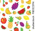 seamless vector retro pixel game fruits pattern - stock vector