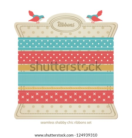 Seamless vector ribbons set. Shabby chic collection. - stock vector