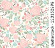 Seamless vector rose pattern - stock vector