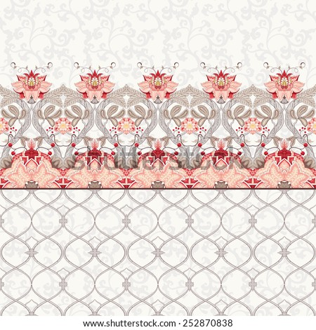 Seamless vector set of borders and backgrounds. Ornament with tree branch, fantastic flowers and leaves. The motives of the paintings of ancient Indian fabrics. Tree of Life collection.  - stock vector
